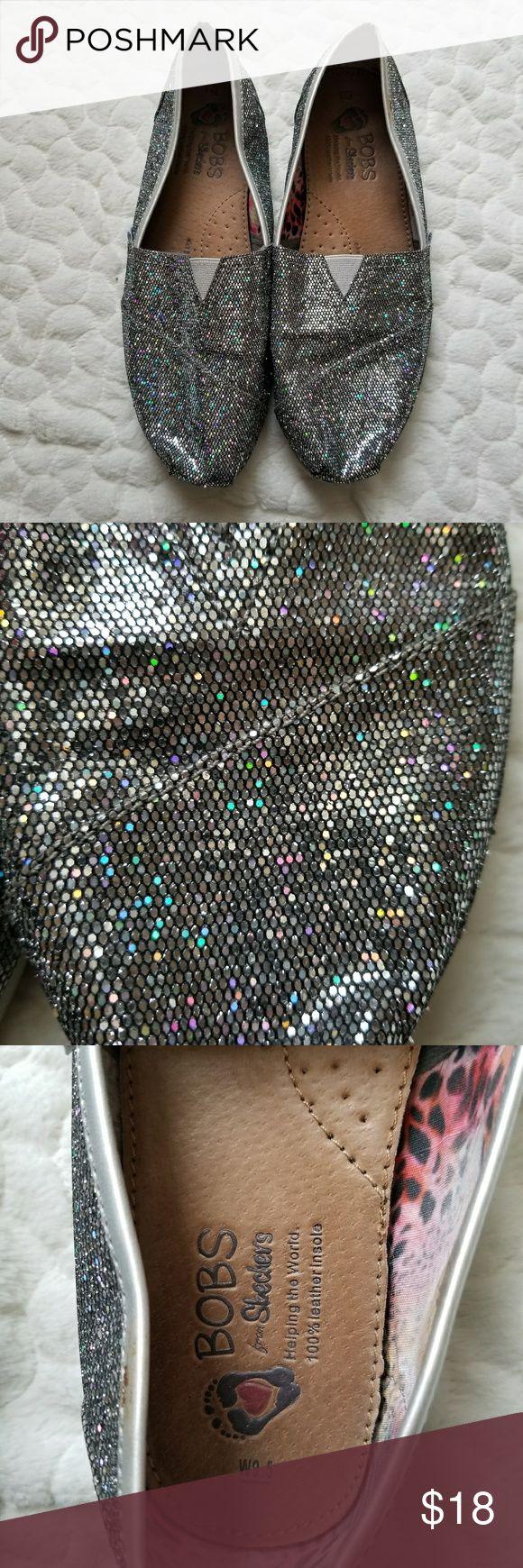 Bobs skechers slip on shoe silver glitter 9.5 flat ** Bobs skechers slip on shoe. Glittery silver in color. In great shape. Size is 9.5** Skechers Shoes Flats & Loafers
