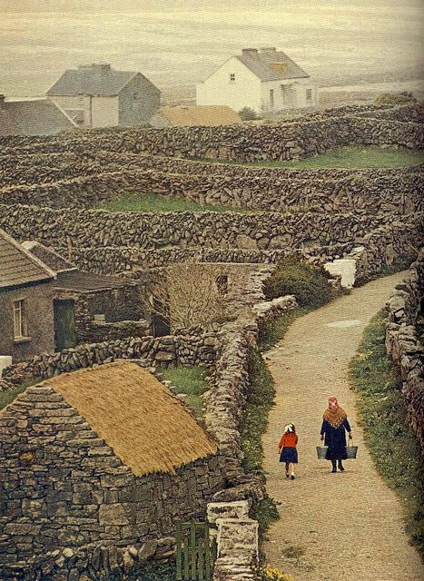 County Galway, Ireland, what a great photo, like stepping back in time. And look at all that stone...