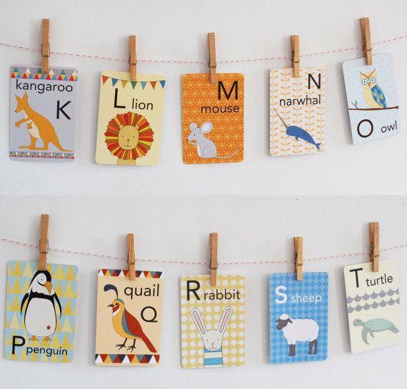 Animal Alphabet Card Set Nursery Wall Cards Animal by katedurkin