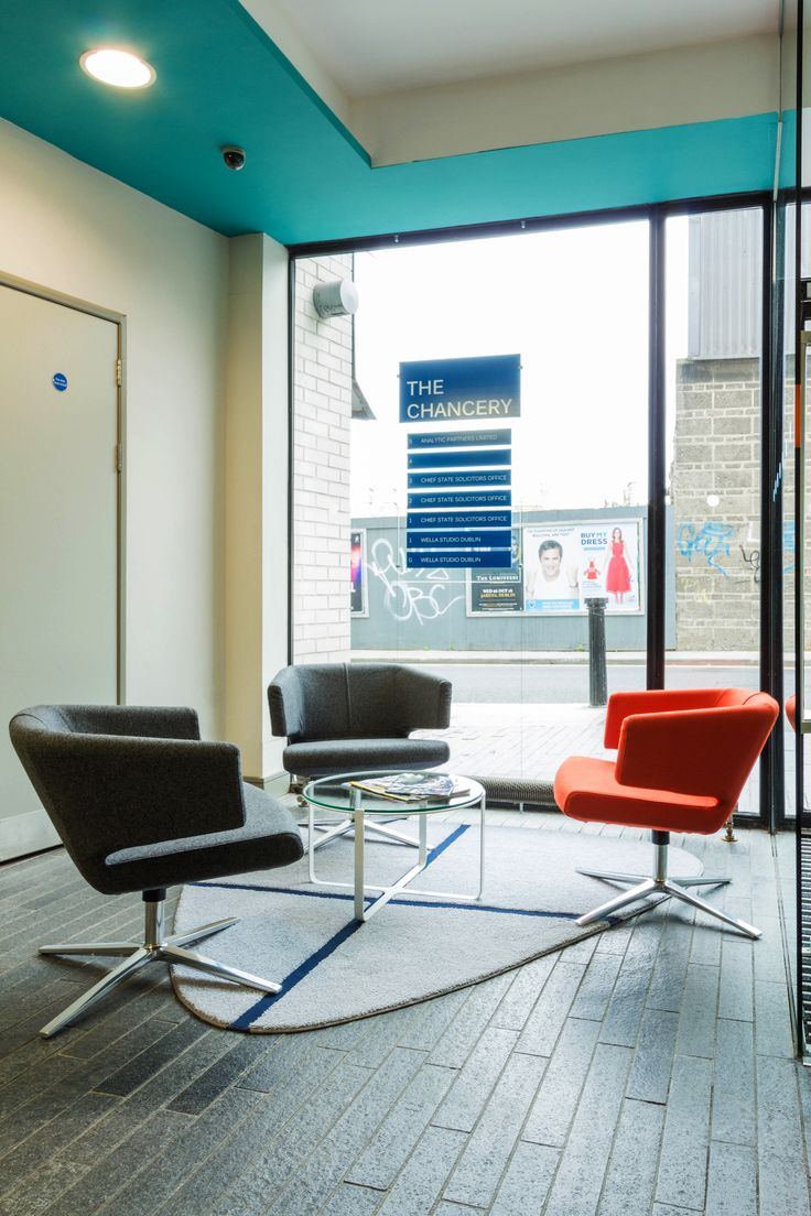 Office Design - Entrance Hall Way - Waiting Area - Signage - Cyan - Blue - Orange - Accent - Lotus Armchair - BENSEN - Trance Coffee Table - naughtone - Office Fit Out - The Chancery Building, Dublin by Think Contemporary