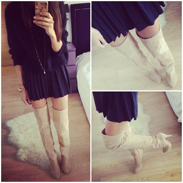 Nude suede over-the-knee boots & pleated mini skirt