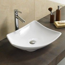 Vasque à Poser Asymétrique, 48x38 cm, Céramique, Feuille