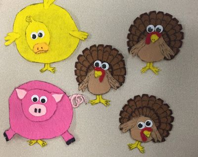 """Five Nervous Turkeys"" felt set, song/rhyme, and coordinating books. Flannel board, felt board, Thanksgiving, turkeys"