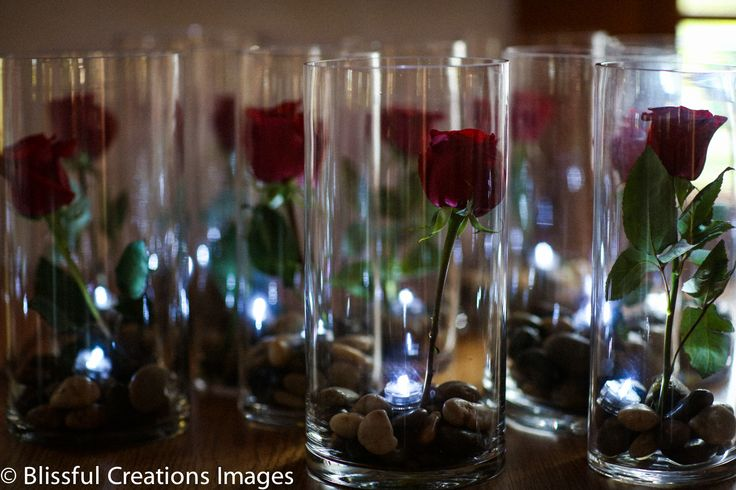 rose in a glass vase (water will be added)