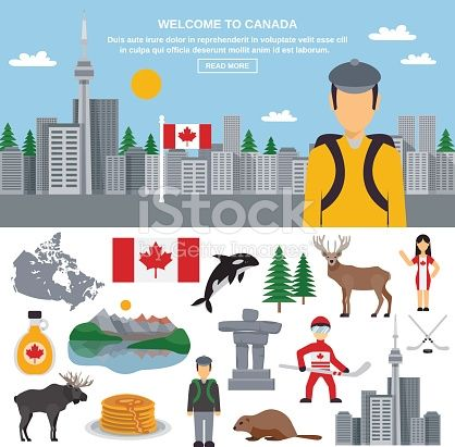 Canada flat icon set with national emblem symbols of the country and decorative cityscape with the tourist above vector illustration