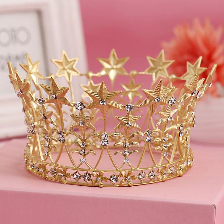 Cristalino Claro Plateado Oro de moda Estrella de la Suerte Del Banquete de Boda Tiara Corona Diadema Accesorios Para el Cabello Para La Joyería Nupcial Del Pelo