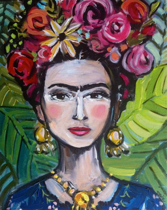 Frida Kahlo Painting Canvas large by DevinePaintings on Etsy, Stylized, Frida, Abstract