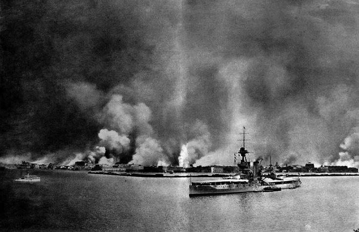 The Burning of Smyrna as seen from HMS King George V. September 1922, Izmir…