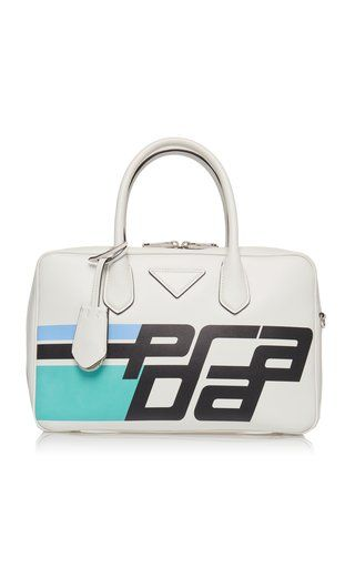 609f68fbd9 City Calf Duffle Bag with Logo by Prada Fall Winter 2018