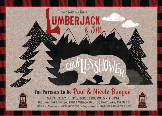I like the name:  LUMBER JACK & JILL  Lumberjack and Jill Jack and Jill Couples Shower by PaperandPomp
