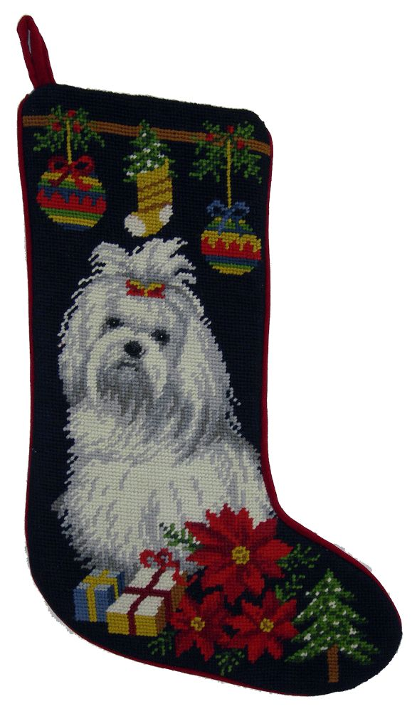 Poinsettia Maltese Dog Needlepoint Christmas Stocking – For the Love Of Dogs - Shopping for a Cause
