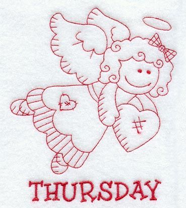 Heavenly Angel on Thursday (Redwork)