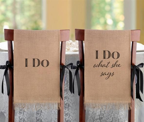 I Do Burlap Chair Covers On Sale At The Wedding Shoppe Canada Wedding Shoppe Wedding Chairs Dream Wedding