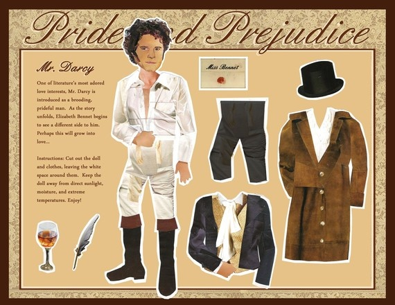 Mr. Darcy Paper Doll Pride and Prejudice magnetic collage. By MellyMo Designs / etsy.