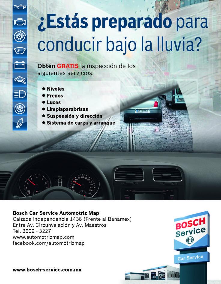 Promocion temporada de lluvias Bosch Car Service.