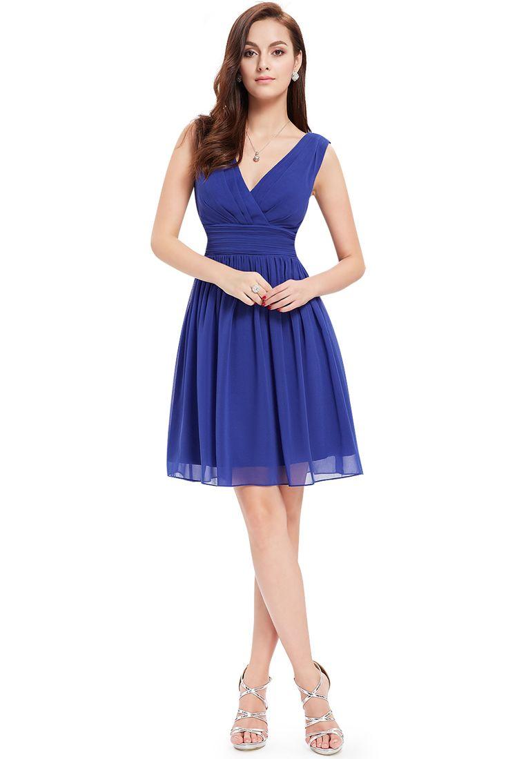 Royal Blue Pleated Chiffon Short Dress - Fashionhub - Short Chiffon Dresses.