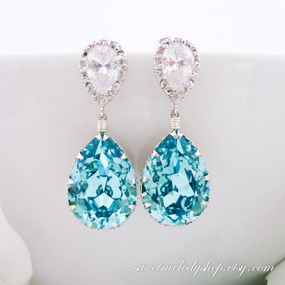 Turquoise Earrings Bridal Jewelry Wedding by SweetMelodyShop, $33.80