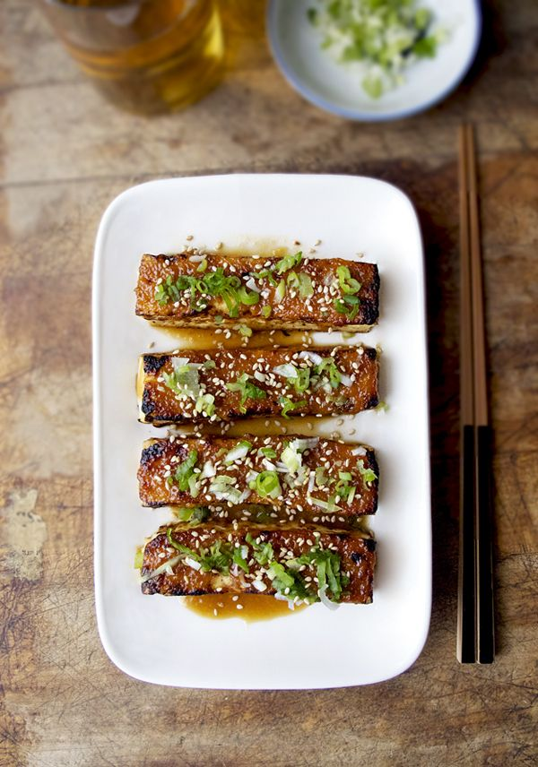 Tofu Dengaku - Broiled tofu with sweet and salty miso glaze (red and white miso paste) topped with chopped scallions.