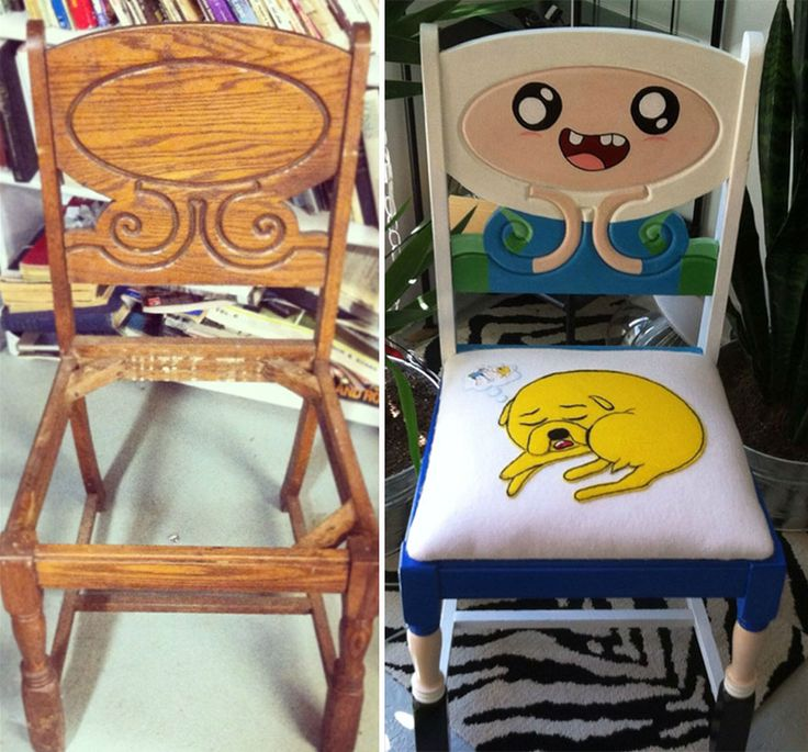"""A creative fan of the popular Adventure Time cartoon show found an old antique chair and turned it into a cool Adventure Time-themed chair that clever commenters are calling """"Advenchair Time.""""  Reddit user reallylovely discovered the (unpainted) chair at an antique shop for $20 and immediately recognized the hidden potential of its simple design."""