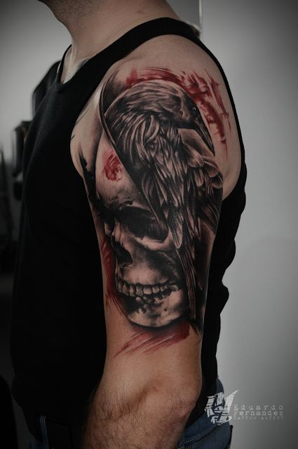 Skull Raven Trash Polka Tattoo
