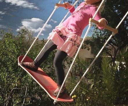 Satisfy your young adrenaline junkies's need for cheap thrills by upgrading their playground with this skateboard swing set. The swing lets them remain in a standing position - allowing them to achieve greater momentum.