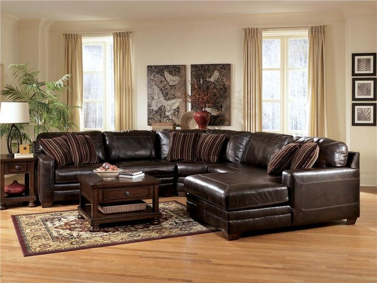 leather sectionals with chaise | Pierce - Canyon L-Shape Leather Sectional Sofa w/ Chaise by Ashley ...