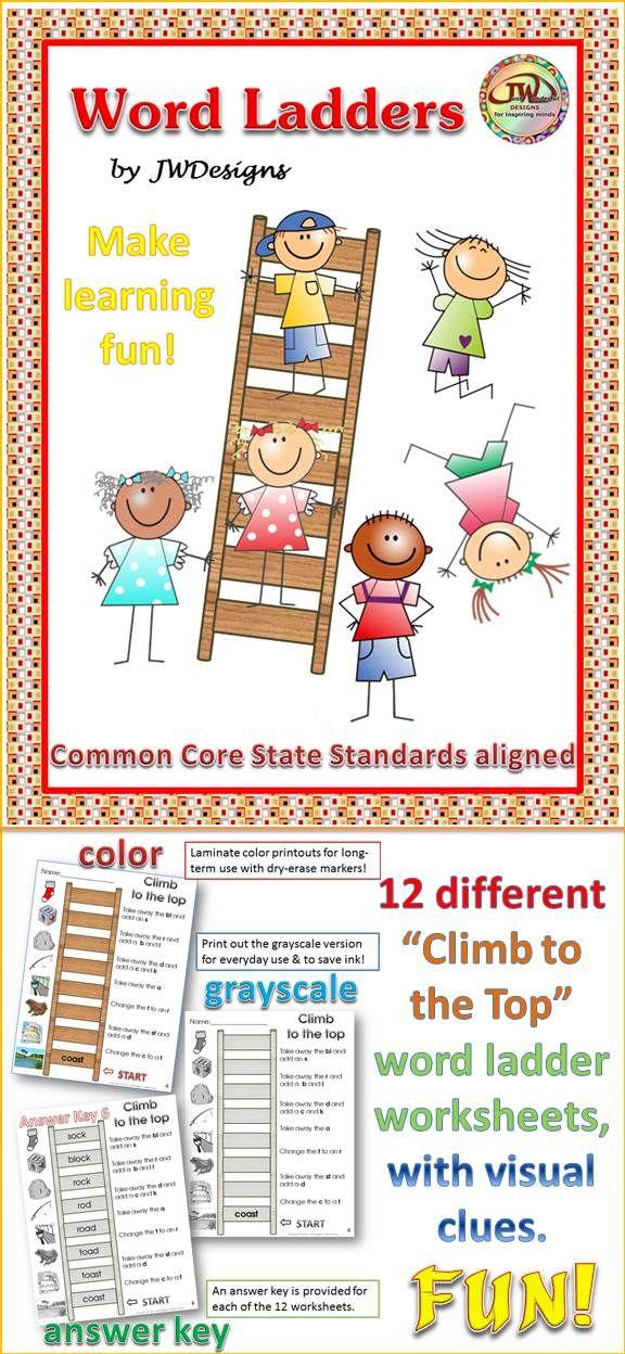 Attractive set of word ladder worksheets for 2nd - 4th grade and homeschoolers.  This is a great tool to strengthen leaning in several areas of the ELA Common Core State Standards.  Laminate for long-term use or use the gray-scale version for quick printables.  Visual clues along with written instructions assist the student to move from one rung to the next.  FUN! $