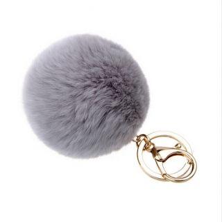Grey pom-pom kulcstartó és táskadísz