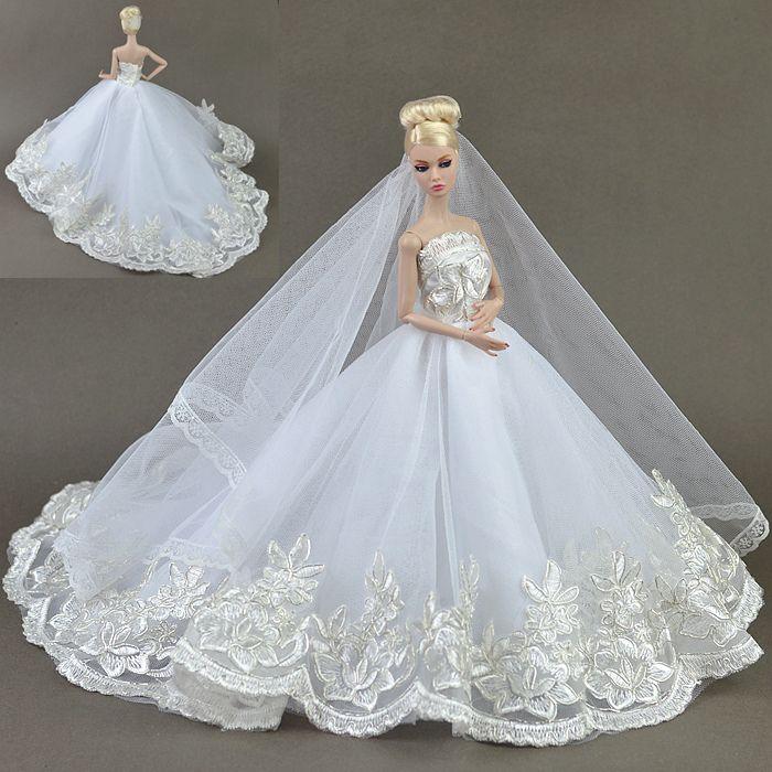 Высокое качество Ручной Работы Подарки Для Девочек Тонкий Вечер Костюм Свадебное Платье Одежда Для Barbie 1:6 Кукольный BBI00155