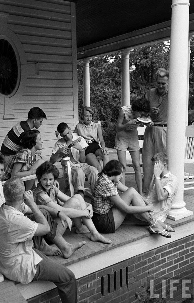 1950s (infinitely before) to the 1990's - People actually talked face to face with each other and built stronger bonds than now.  If this were taken today, everyone would be sitting with their backs to each other texting on their ipods.  I miss those days!
