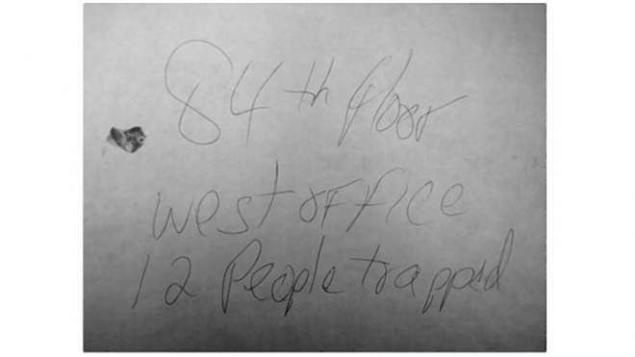 The note that Randy Scott hastily wrote while on the 84th floor of the World Trade Center passed through many hands, eventually landing at the National September 11 Memorial & Museum, which worked with the medical examiner to identify the blood stain as belonging to Randy Scott.