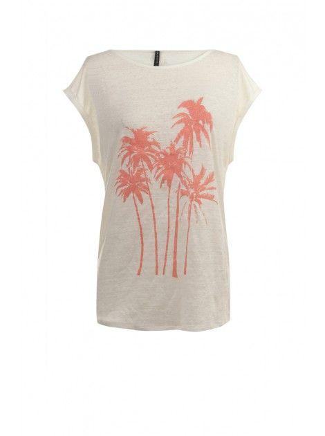 Tee-shirt imprimé palmiers ECRU - Tops Femme - NAF NAF