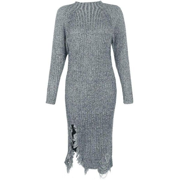 Boohoo Charlotte Distressed Rib Knit Jumper Dress | Boohoo (175 HRK) via Polyvore featuring tops, sweaters, party tops, going out tops, nordic sweater, wrap sweater i animal print sweaters