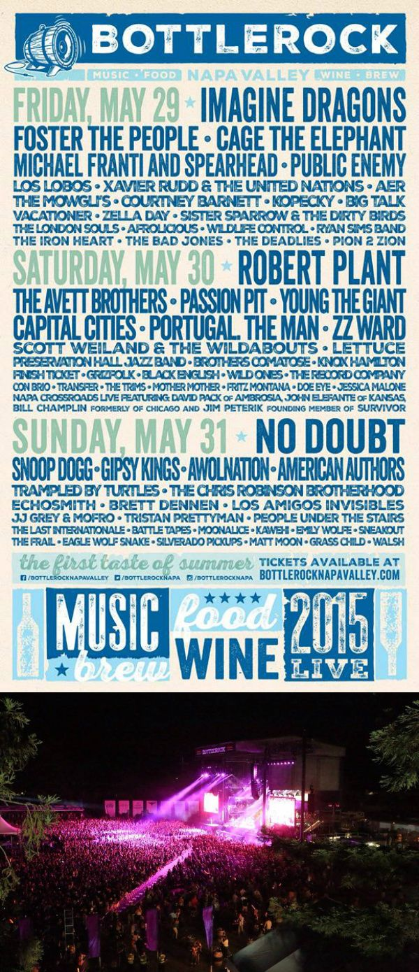 Bottle Rock in Napa Valley makes our top 50 festivals list of 2015. See the full list at www.metrowize.com/music-festivals-guide