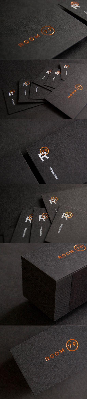 Sleek Black And Copper Foil Business Card Design