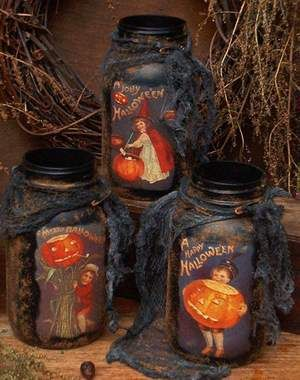 grungy halloween jars with vintage postcards from The Old Glory Company...e-pattern $8.00