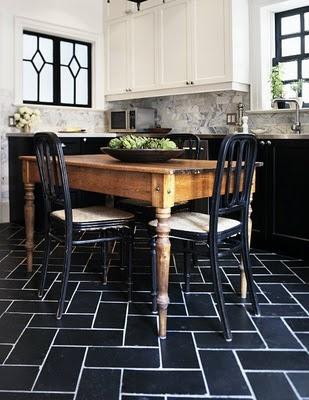 White Floors: Love the black tiles!