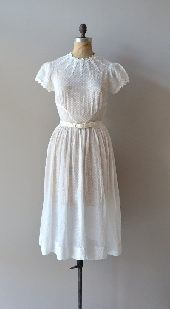 White vintage dress with cap sleeves, lace edging and a lovely sun ray detail at neckline in almost sheer swiss dot, - 1930s- Osmanthus