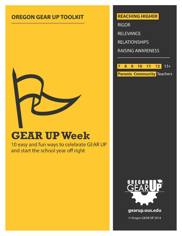 GEAR UP Week Toolkit | Oregon GEAR UP  This toolkit has everything you need to put on a week of programs designed to get the word out about GEAR UP and the importance of going on to college. Download the customizable, print-and-use resources, too!