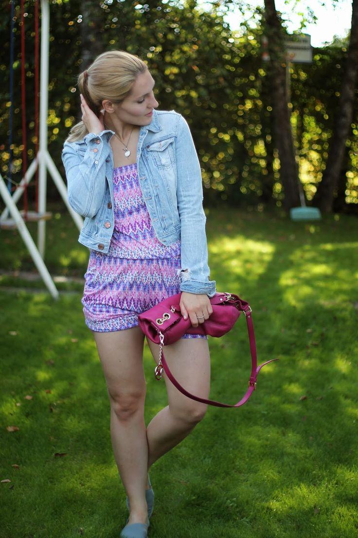Summer Look / Michael Kors Jetset Bag Pink / Pink Jumpsuit Takko / Espadrillas Espadrij Grey / Ballerina Necklace / Accessoires / Jewelry silver / Blue Jeans Jacket /