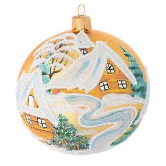 Tannenbaumkugel goldenen Glas Winter Landschaft Bild 100mm | Online Verfauf auf HOLYART