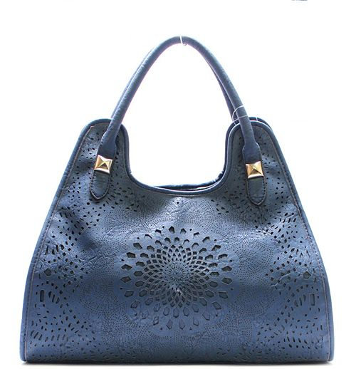Laser Cut Claudia Satchel in Blue on Emma Stine Limited  -- Great with Jeans !!!  :-)