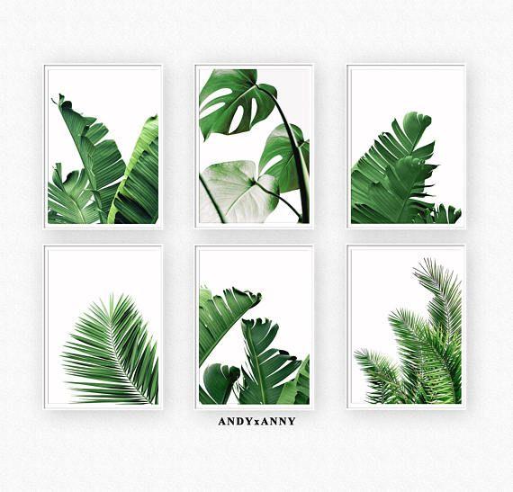 Tropical Leaves Set Of 6 Prints Botanicals Prints Banana Leaf Printable Wall Art Palm Leaf Print Set Of 6 Digital Prints Wall Art Set Printable Wall Art Botanical Wall Art Wall Art Sets