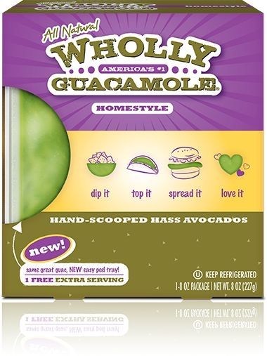 Wholly Guacamole Homestyles in peel and serve tray!