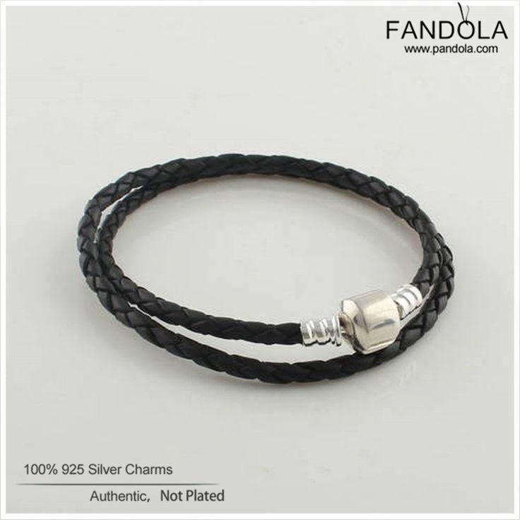 Sterling-Silver-Jewelry Double Leather Bracelet 925 Silver Barrel Clasp Black Leather Bracelets for Women Jewelry Making PL001