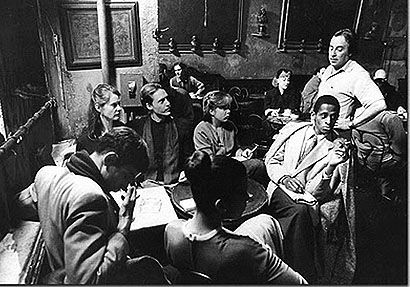 A Group at Cafe Reggio in the 1960s. Note the age of the patrons. Coffee Houses in Greenwich Village and San Francisco's North Beach tended to attract an older crowd than the ones seen in the folk music coffeehouses in Los Angeles.