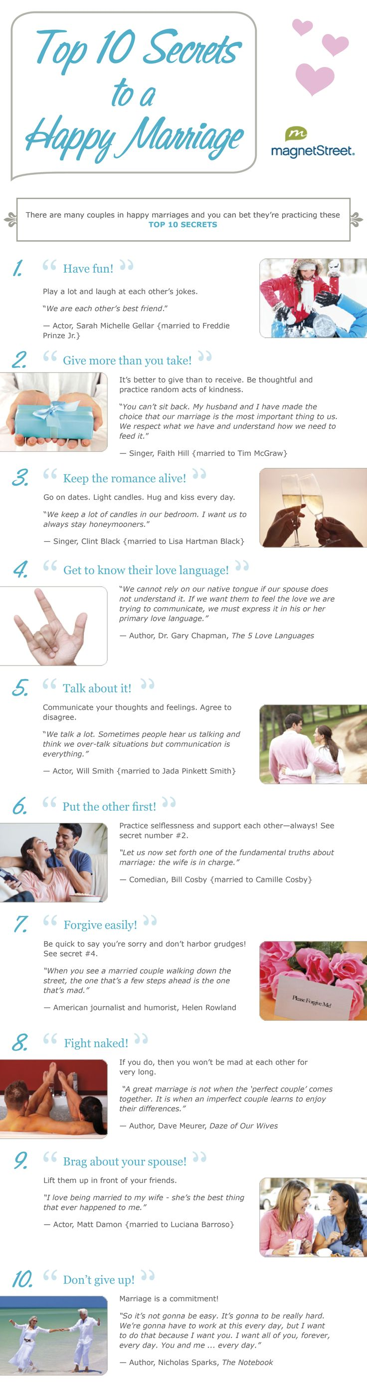 Top 10 Secrets to a Happy Marriage                                                                                                                                                                                 More