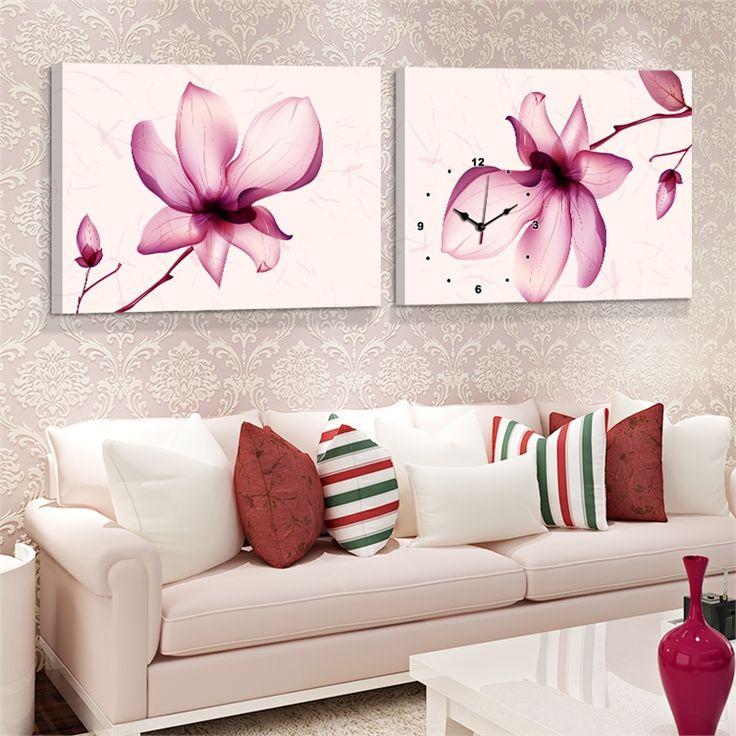 壁時計 壁絵画時計 静音時計 壁掛け時計 オシャレ 2枚パネル 芸術蓮花