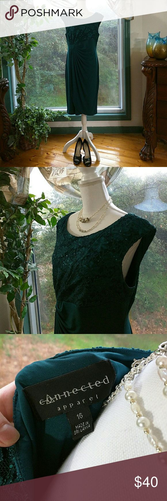 """Connected Apparel Sequined Faux Wrap Dress Dark Teal Green Top of dress sequined lace  Bust 19"""" across front Whole Length of Dress is 40"""" ??RUNS SMALL...More like a 14 Nylon Polyester Spandex blend Connected Apparel Dresses Midi"""