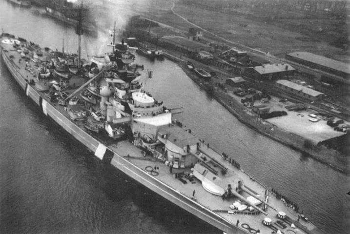 15 in battleship Bismarck in early May 1941 immediately prior to leaving Germany on Operation Rhine, her ill fated foray into the Atlantic: on 24th she sank the famous British battlecruiser HMS Hood off Iceland; on 27th an avenging Royal Navy sent her to the bottom as she fled towards the occupied French Atlantic Coast. Only 110 of her crew survived.